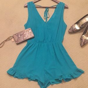 ASTR Teal Romper with Ruffle Trim
